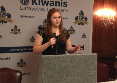 Sarah Speaking at Kiwanis of Lafayette, LA